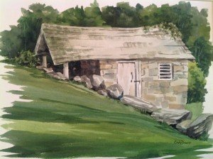 Keedy House Watercolor of Springhouse