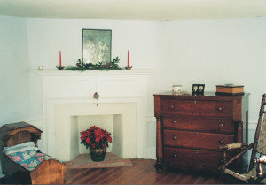 A corner fireplace in the Jacob Hess House. Photo by Merry Stinson.