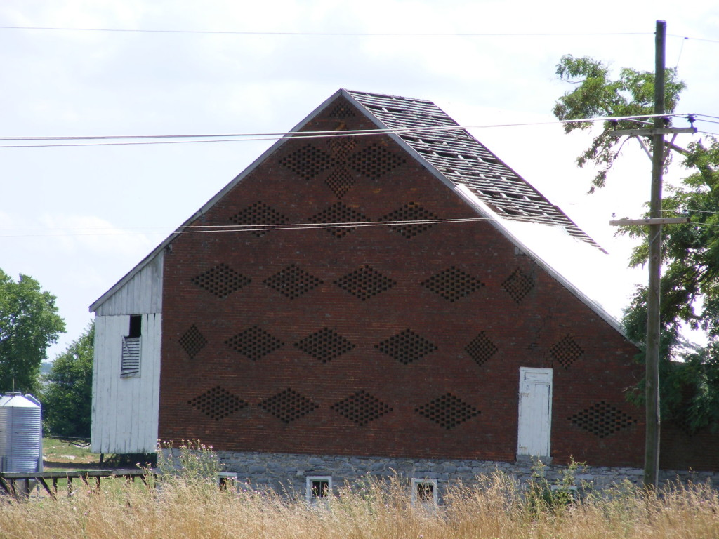 "The Hagerstown Airport permitted ""demolition by neglect"" to this magnificent pierced-end brick barn until forced to require the farmer using it to do maintenance."